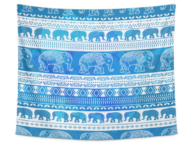 Blue Elephant March Tapestry