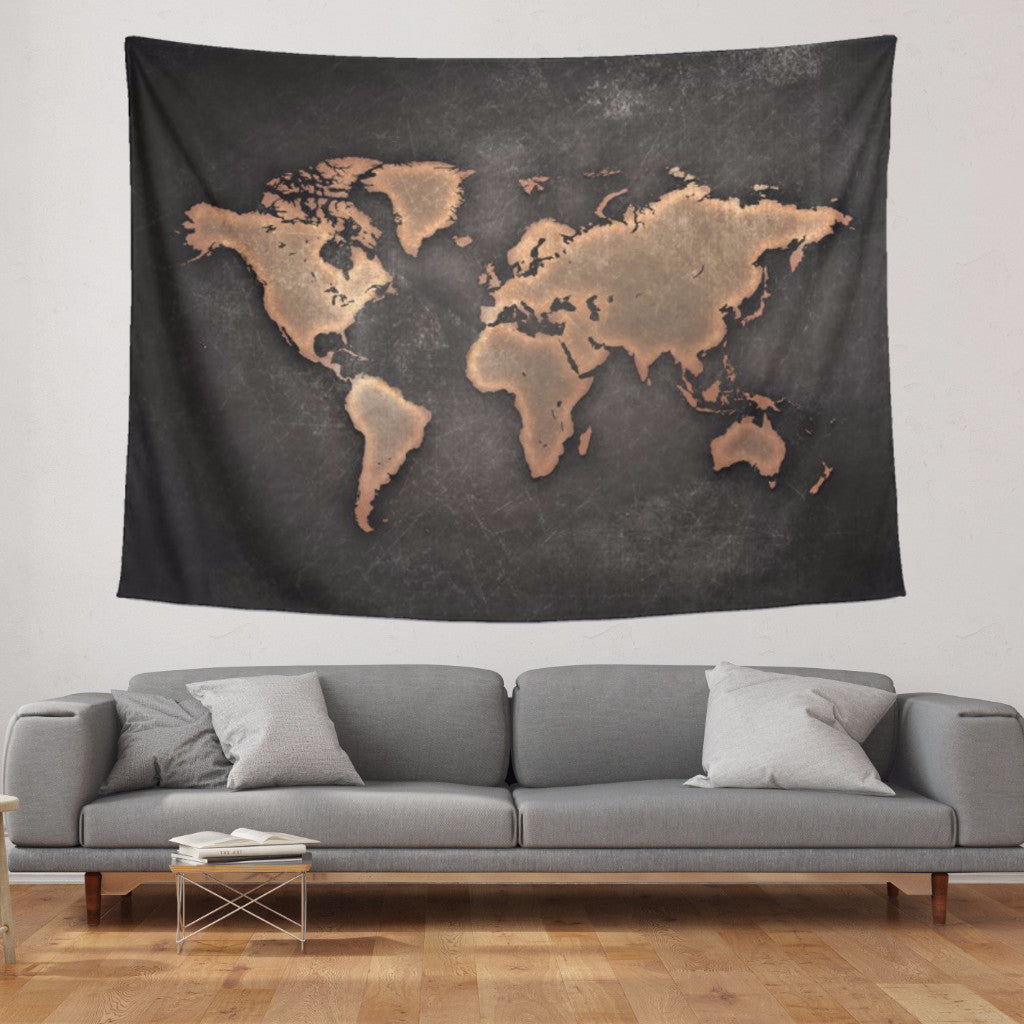 Black World Map Tapestry