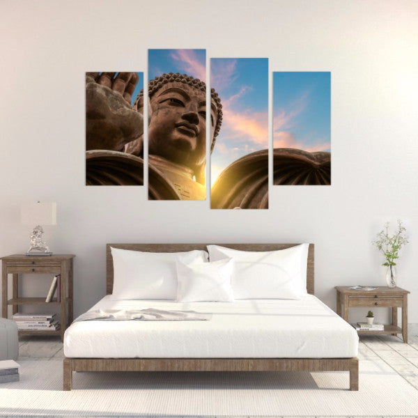 Buddha Statue 4 Piece Canvas