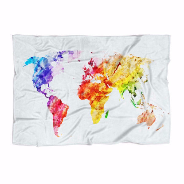 Water Color World Map Blanket Readysetdecor - World map blanket