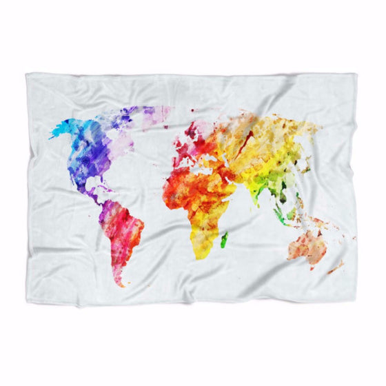 Water Color World Map Blanket