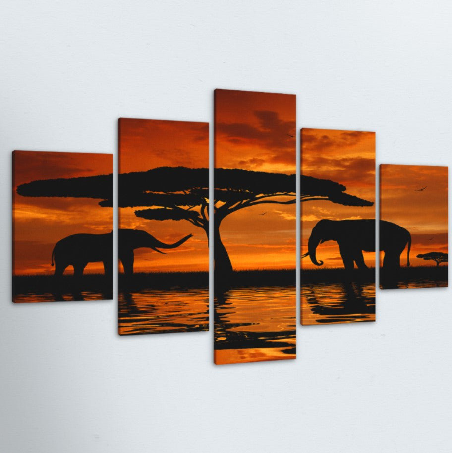 Elephant Family Silhouette 5 Piece Canvas