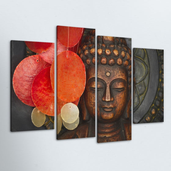Peaceful Buddha 4 Piece Canvas