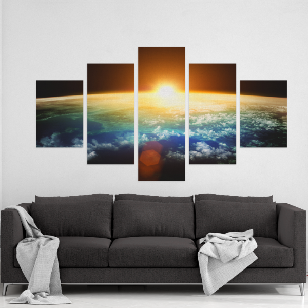 Earth From Space 5 Piece Canvas