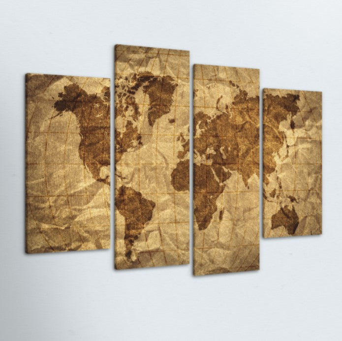 Rugged World Map 4 Piece Canvas