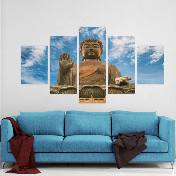Large Buddha Statue 5 Piece Canvas