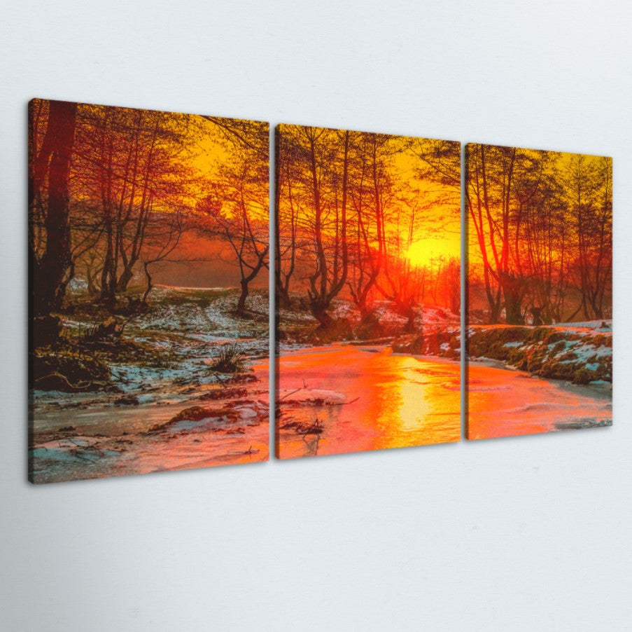Forest Sunset 3 Piece Canvas
