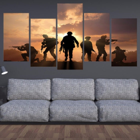 Military Soldiers Silhouette 5 Piece Canvas