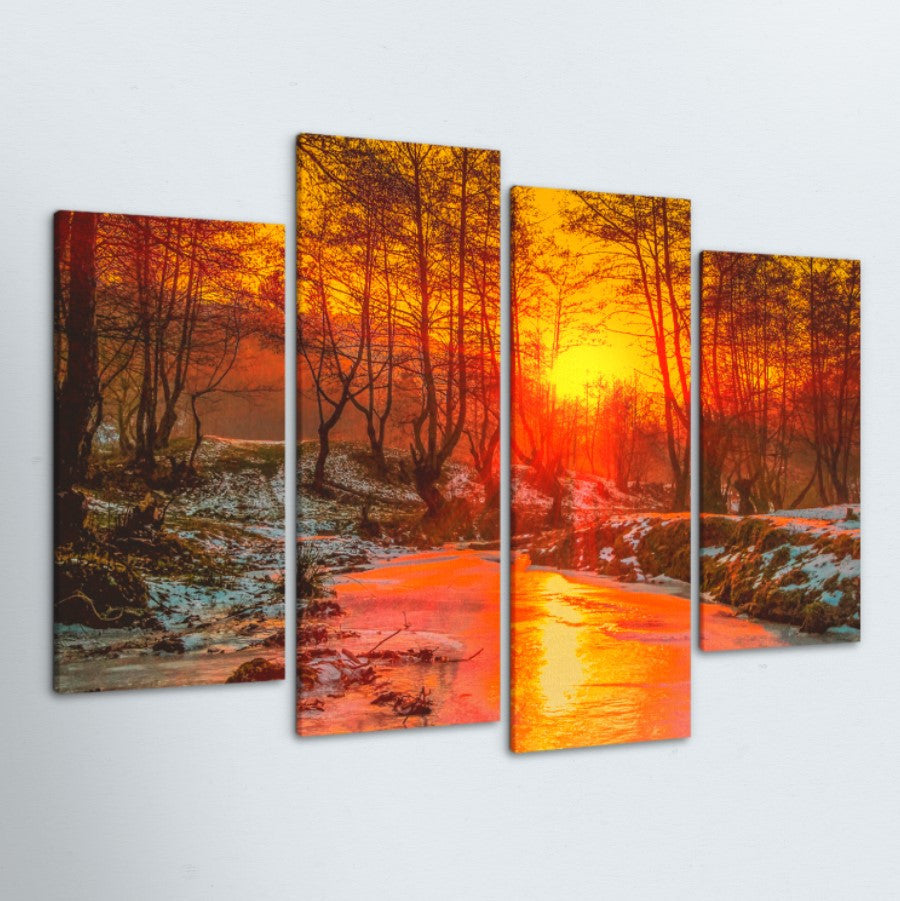 Forest Sunset 4 Piece Canvas