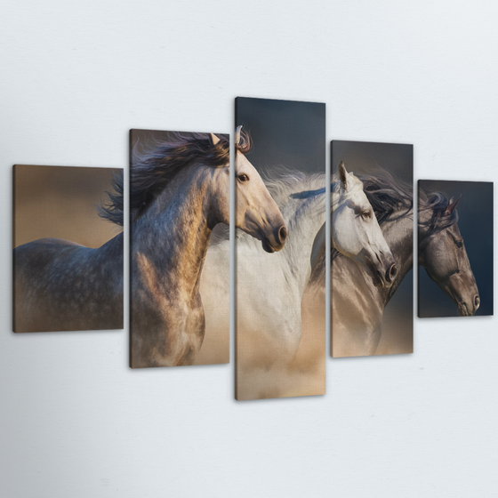 Wild Horses 5 Piece Canvas