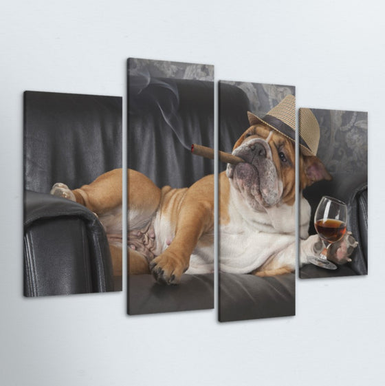 Bulldog 4 Piece Canvas