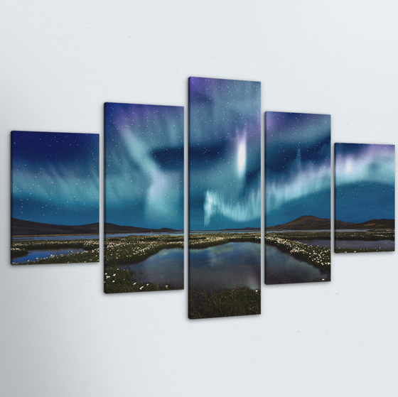 Blue Aurora 5 Piece Canvas
