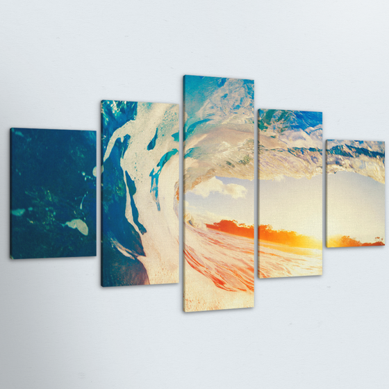 Sunset Barrel 5 Piece Canvas
