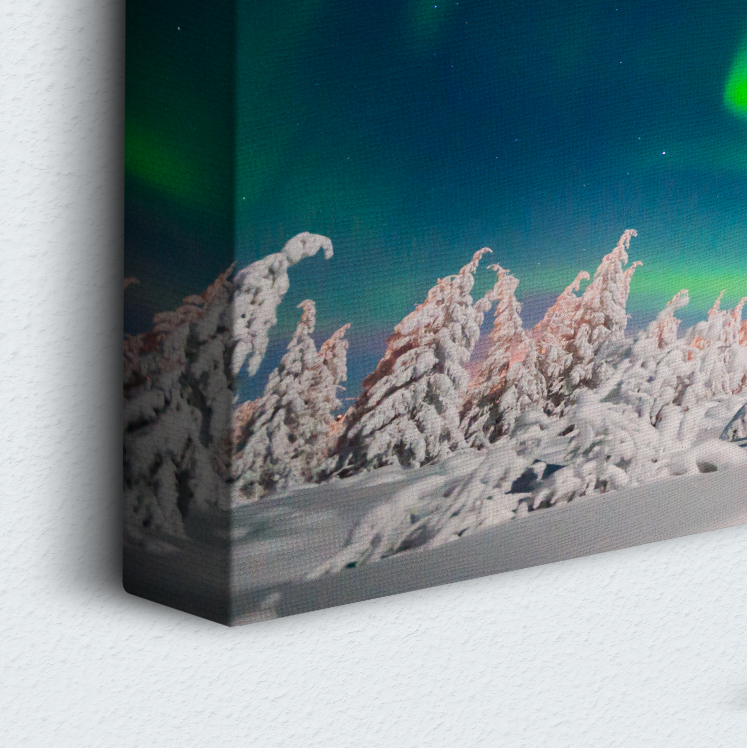 Snowy Green Aurora 5 Piece Canvas