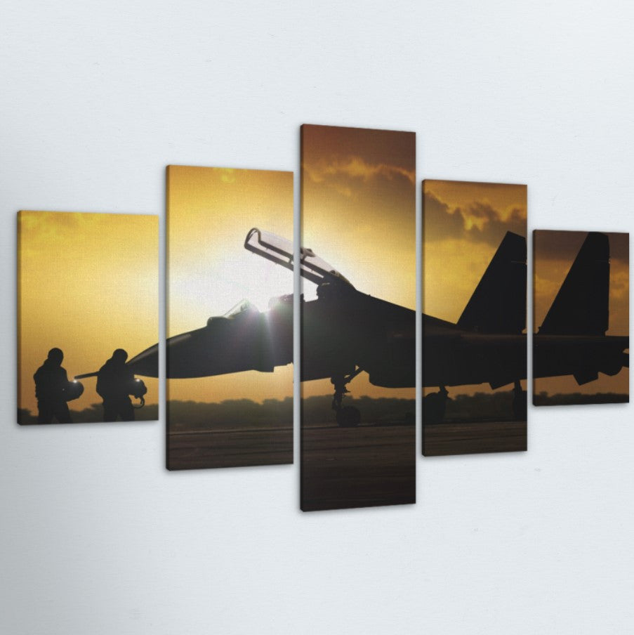 Military Jet Silhouette 5 Piece Canvas