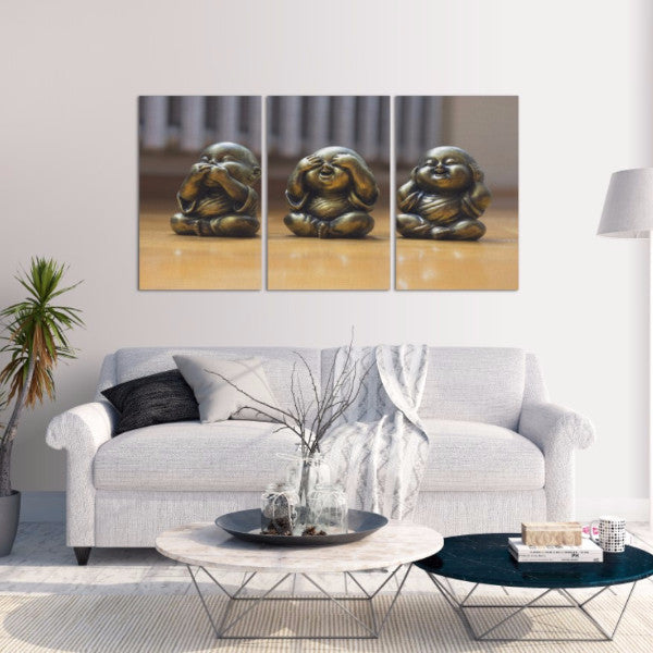 Three Little Buddha's 3 Piece Canvas