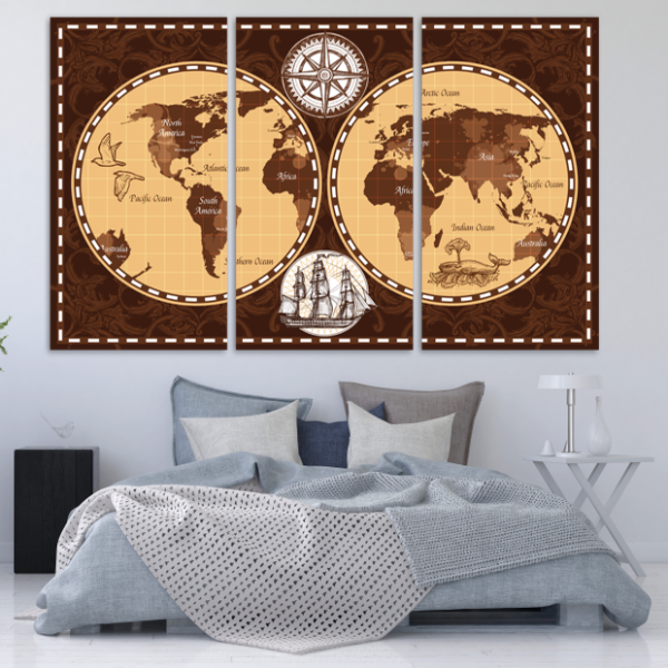 Vintage World Map 3 Piece Canvas