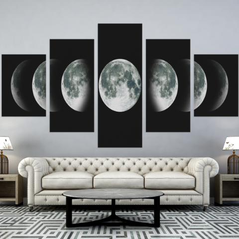 Moon Phase 5 Piece Canvas