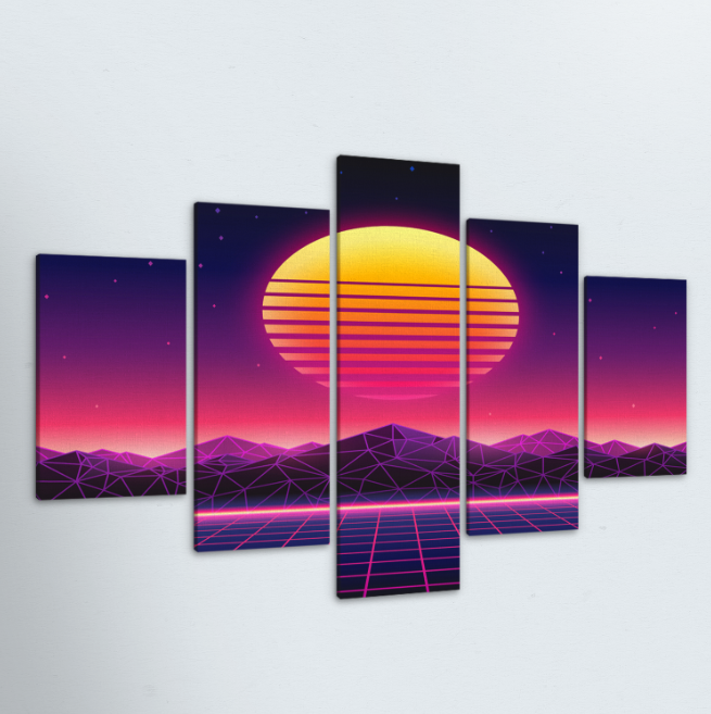 Retro Sunset 5 Piece Canvas