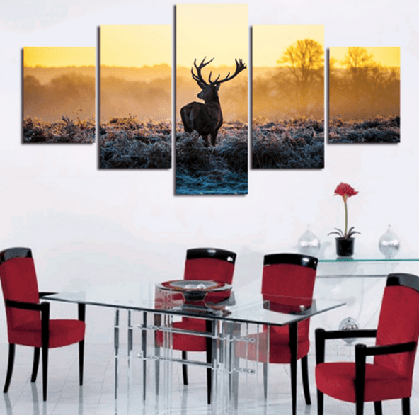 Frost Deer 5 Piece Canvas