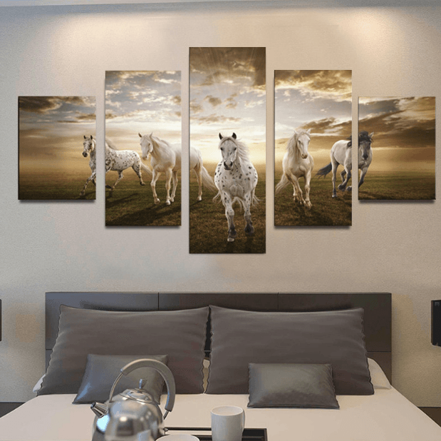 Wild Sunset Horse 5 Piece Canvas