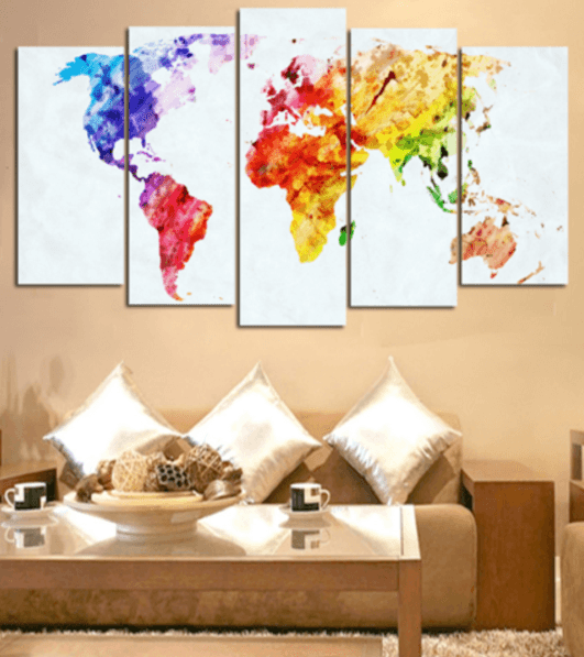 Water Color World Map 5 Piece Canvas