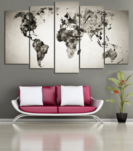Black Water Color World Map 5 Piece Canvas