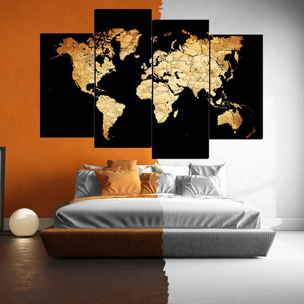 New Black World Map 4 Piece Canvas