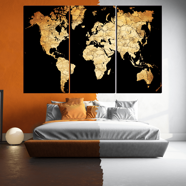New Black World Map 3 Piece Canvas