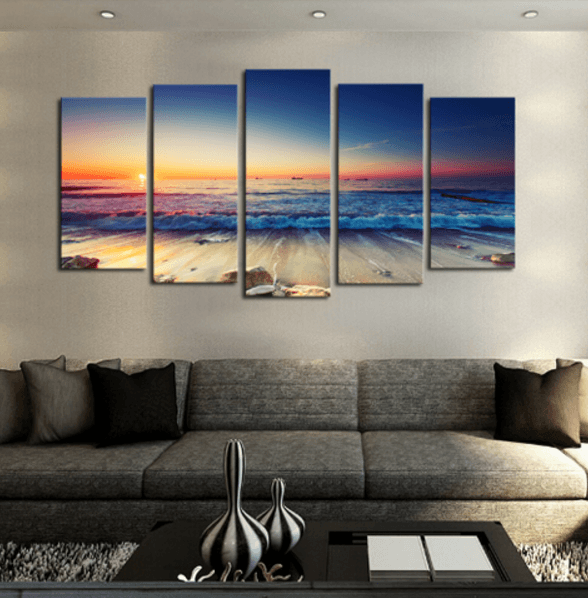 Ocean Sunrise 5 Piece Canvas Readysetdecor