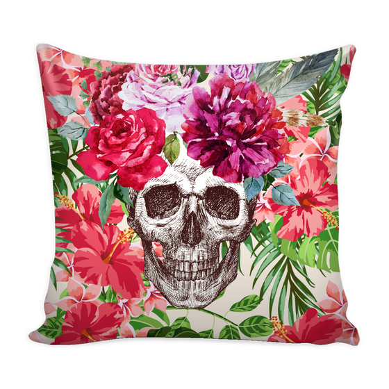 Etched Floral Skull Pillow