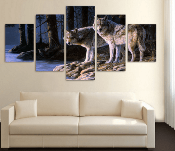 Wolf 5 Piece Canvas