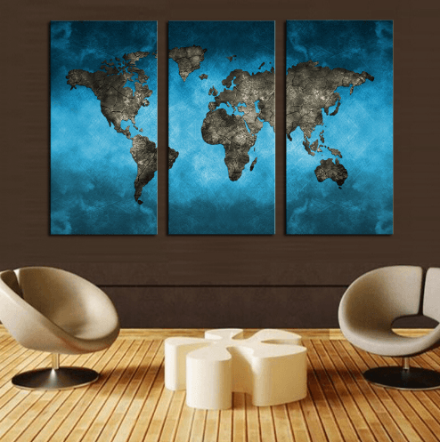 Blue World Map 3 Piece Canvas