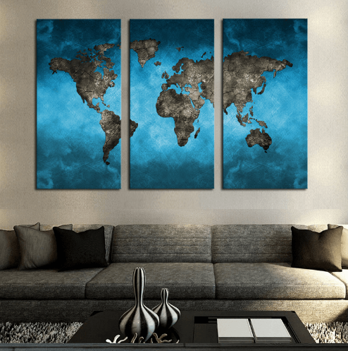 Blue World Map Piece Canvas Readysetdecor - World map canvas