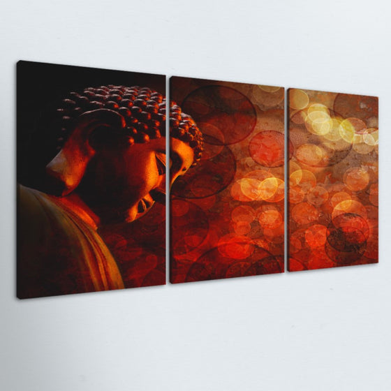 Red Buddha 3 Piece Canvas