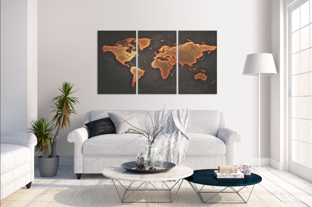 Black World Map 3 Piece Canvas