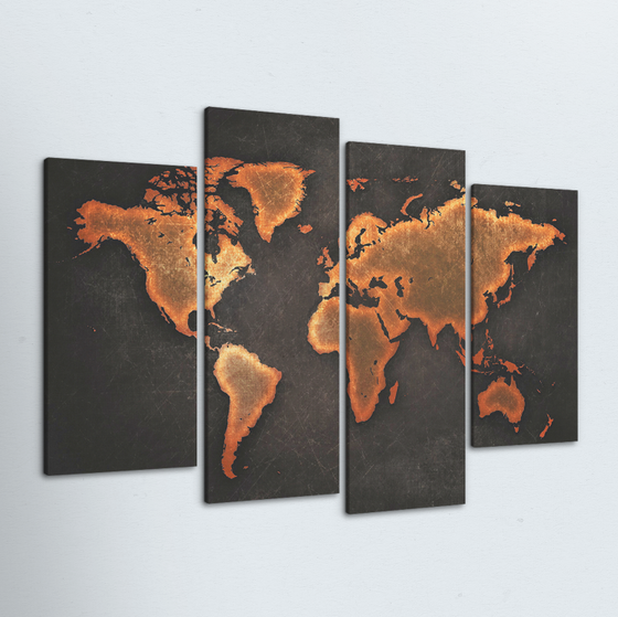 Black World Map 4 Piece Canvas