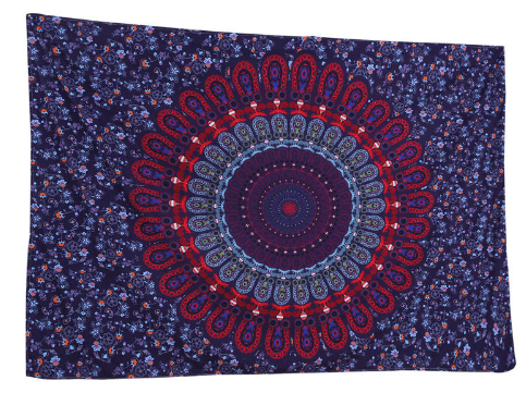 Blue And Red Mandala Tapestry