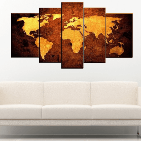 Gold World map panel painting