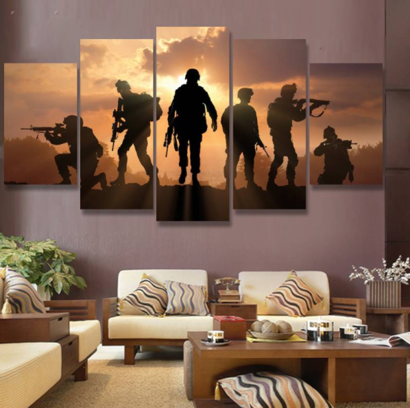 Military soldiers silhouettes 5 piece canvas