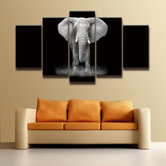 Black And White Elephant 5 Piece Canvas
