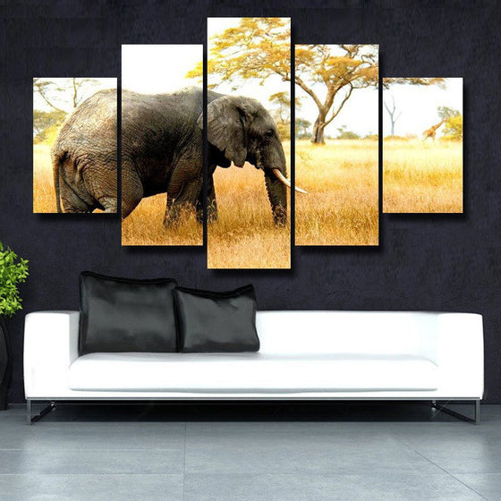 Elephant Grazing 5 Piece Canvas