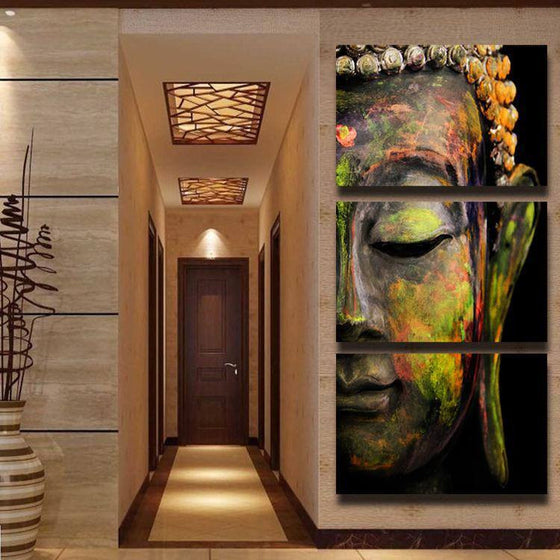 Oil Buddha 3 Piece Canvas