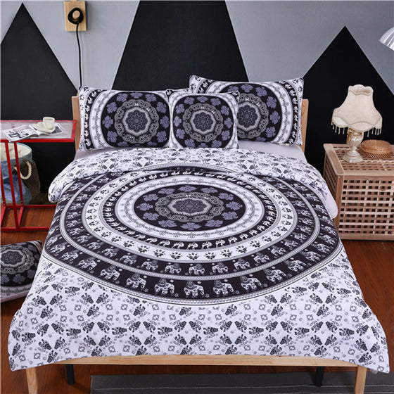 White Elephant Mandala Bedding