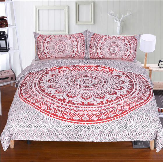 White And Red Mandala Bedding