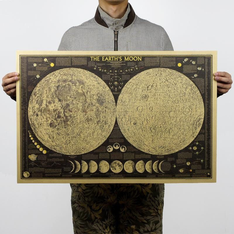 Moon Phase World Map Poster