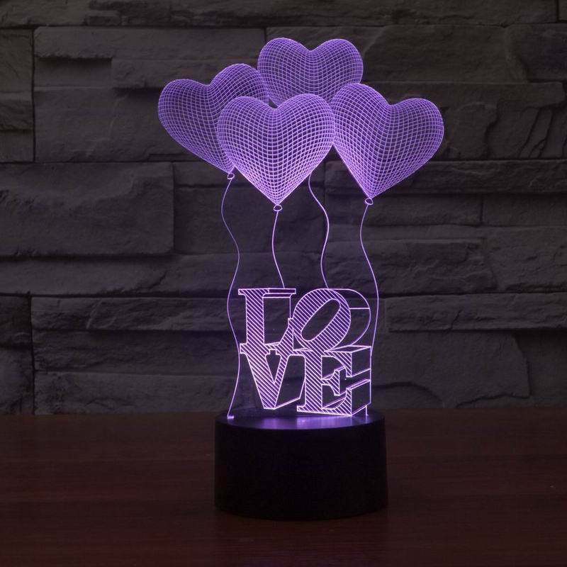 3D Love Ballons Lamp