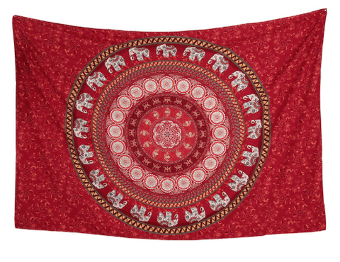 Red Elephant Mandala Tapestry