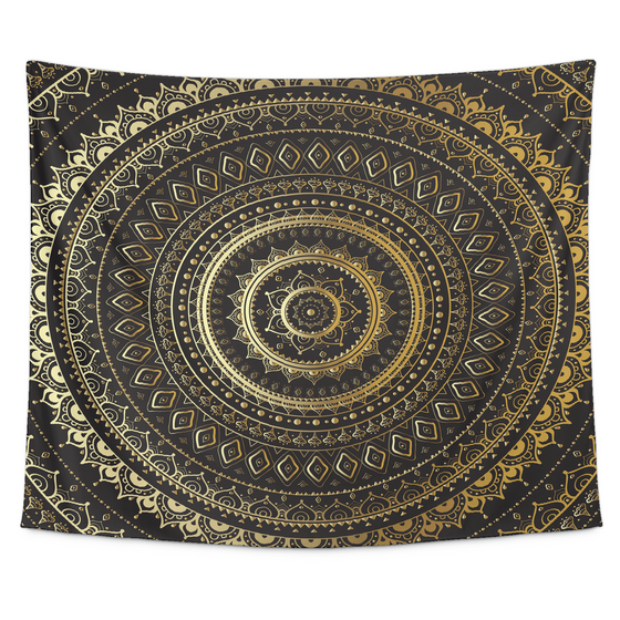 Golden Mandala Tapestry