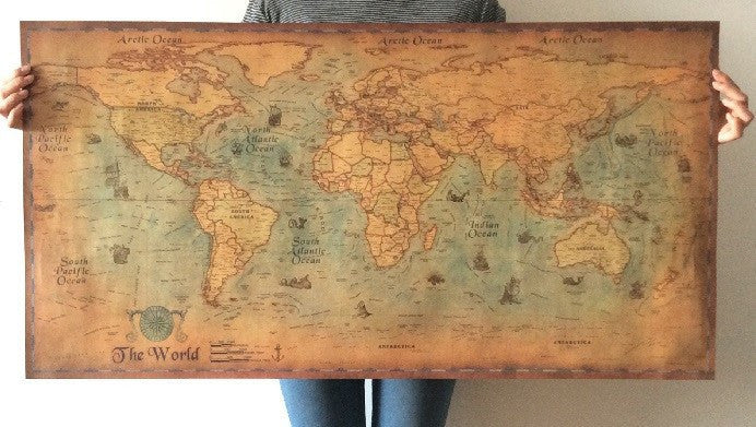 Large retro World Map